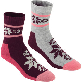 Kari Traa Rusa - Chaussettes Femme - 2 Pairs gris/rouge